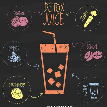 Colorful chalkboard detox juice - vector gratuit #376773