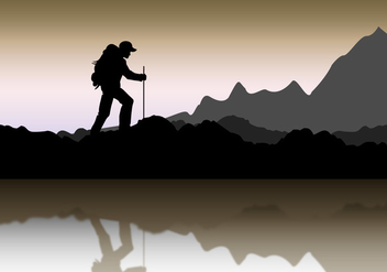 Mountaineer Landscape silhouette - Free vector #376823