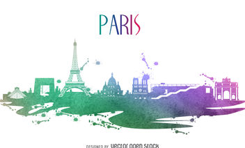 Paris watercolor skyline silhouette - бесплатный vector #376913