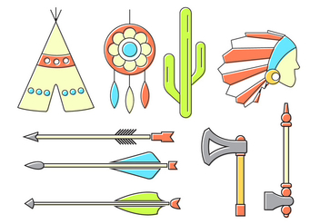 Vector Set of Indian Icons - vector #376933 gratis