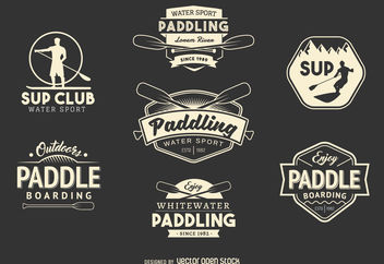 Paddling sport label set - vector gratuit #376953