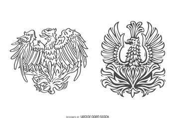 Hand drawn phoenix bird set - vector gratuit #376963