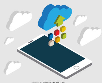 Isometric cloud smartphone - vector gratuit #377043