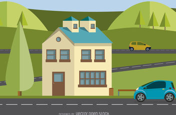 Modern home illustration - Free vector #377083