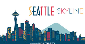 Seattle skyline silhouette - бесплатный vector #377113