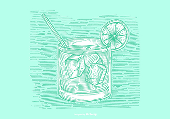 VODKA TONIC LINE DRAWING VECTOR - vector #377193 gratis