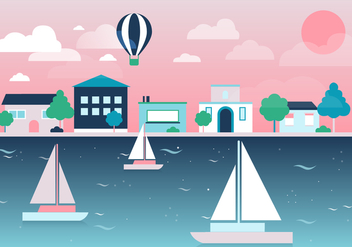 Free City Vector Landscape with lake - vector #377973 gratis