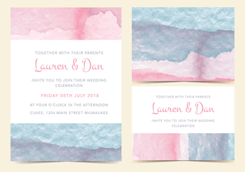 EARMARKED FOR VD Pastel Watercolor Vector Invitation - Free vector #378003