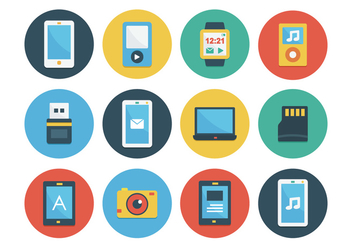 Gadget Flat Icon Set - vector gratuit #378013