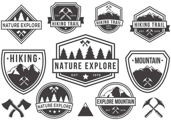 Free Mountain and Nature Badges Vector Black and White - Kostenloses vector #378033