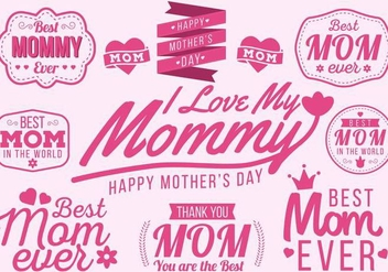 Free Happy Mother's Day Typography Vector - vector gratuit #378043