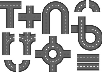 Free Road with Roundabout Element Vector - Free vector #378153