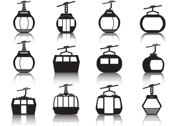 Cable Car Icon Set - vector #378383 gratis