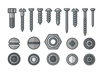 Screws, nuts and rivets icons - vector gratuit #378393