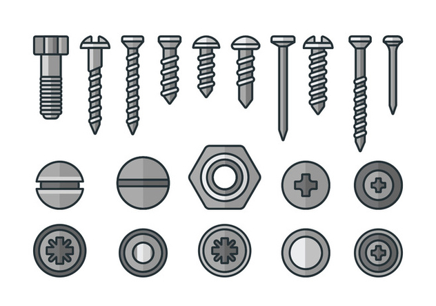 Screws, nuts and rivets icons - Free vector #378393