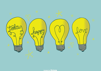 Hand Drawn Lightbulb Vectors - vector gratuit #378443