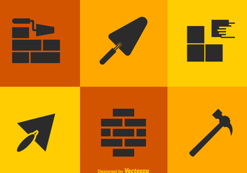 Free Vector Bricklayer Tools Icons - бесплатный vector #378473