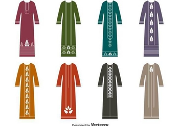 Muslim Dress Vector Set- Vector Abaya - Free vector #378693