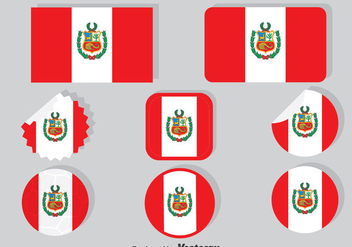Peru Flag Collection Set - vector gratuit #378703