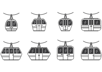 Set Of Cable Car Icon - vector gratuit #378743