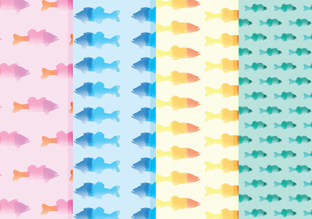 Vector Watercolor Fish Patterns - Free vector #378783