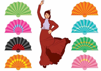 Spanish Fan and Dancer Set - vector gratuit #378793