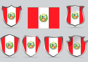 Vector Set Shield of Flag Peru - Kostenloses vector #378833