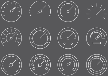Fuel Gauges Line Icons - vector #378873 gratis