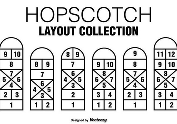 Six Vector Black Hopscotch Game Icons - vector gratuit #378963