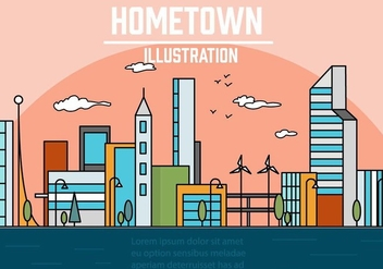 Free Linear City Vector Illustration - бесплатный vector #378993