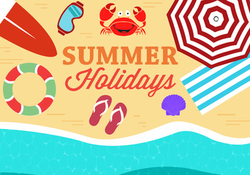 Free Summer Beach Vector Illustration - бесплатный vector #379103