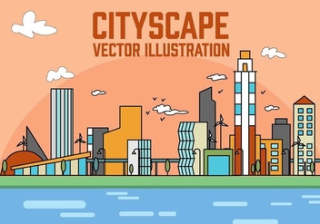 Free Peach Linear City Vector Illustration - Kostenloses vector #379183