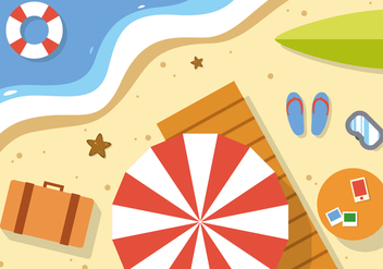 Free Summer Beach Vector Illustration - бесплатный vector #379263