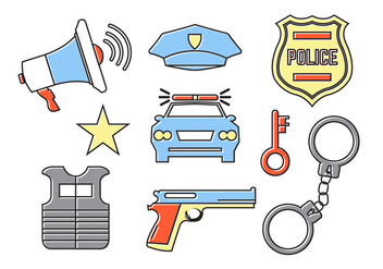 Police Accessories in Vector - vector #379323 gratis