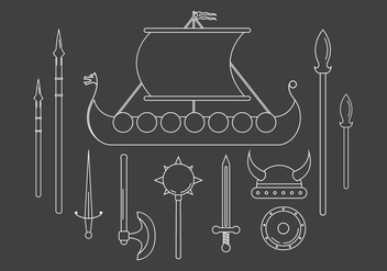 Vector Set of Viking Icons - vector #379363 gratis