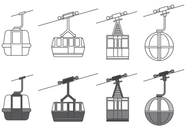 Cable car icons - Free vector #379413