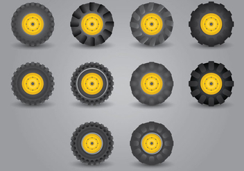 Tractor Tire Icon Set - Free vector #379433