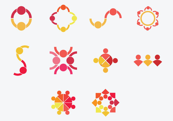 Working Together Icon Set - vector gratuit #379443