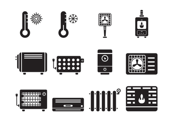 Heating and Cooling Icons - vector #379503 gratis