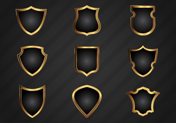 Free Realistic Gold Shield Shapes Vector - Free vector #379553