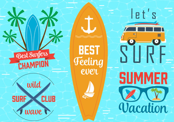 Free Vector Surfing Graphics and Emblems - Free vector #379753