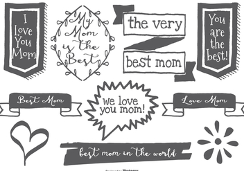 Cute Hand Drawn Mom Labels - Kostenloses vector #379763
