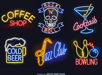 Neon sign set - vector gratuit #379803