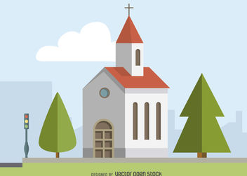 Illustrated church poster - Free vector #379833