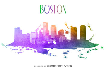 Boston watercolor skyline - vector gratuit #379863