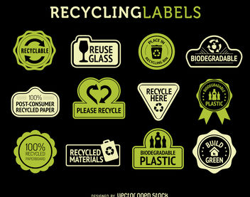 Recycle labels set - vector gratuit #379883