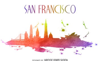San Francisco colorful skyline illustration - vector gratuit #379893