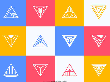Colorful triangular label set - vector gratuit #379923