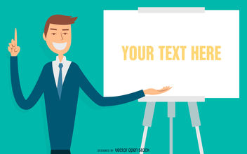 Illustrated businessman presentation - Free vector #380013