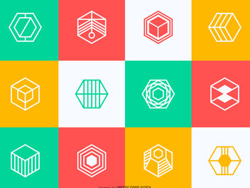 Polygonal logo collection - Free vector #380023